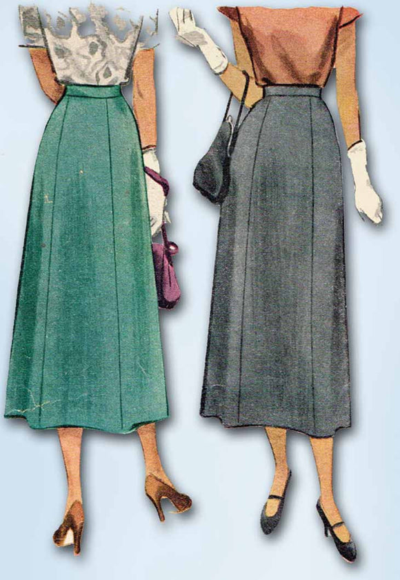1940s Vintage McCall Sewing Pattern 7337 Misses 6 Gore Day Skirt Size 32 Waist