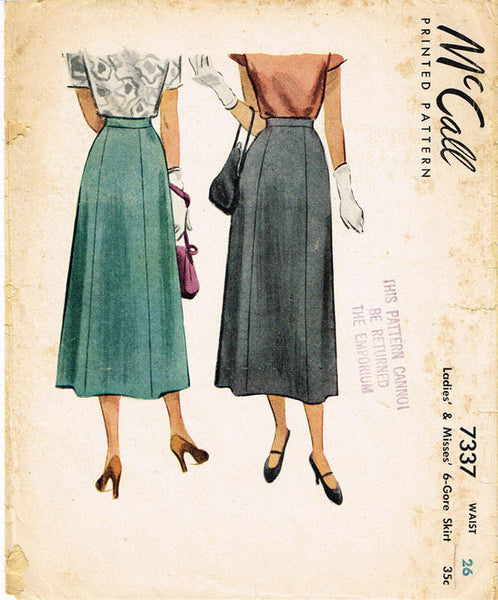 1940s Classic Skirt Pattern 1948 McCall Sewing Pattern Size 26 W - Vintage4me2