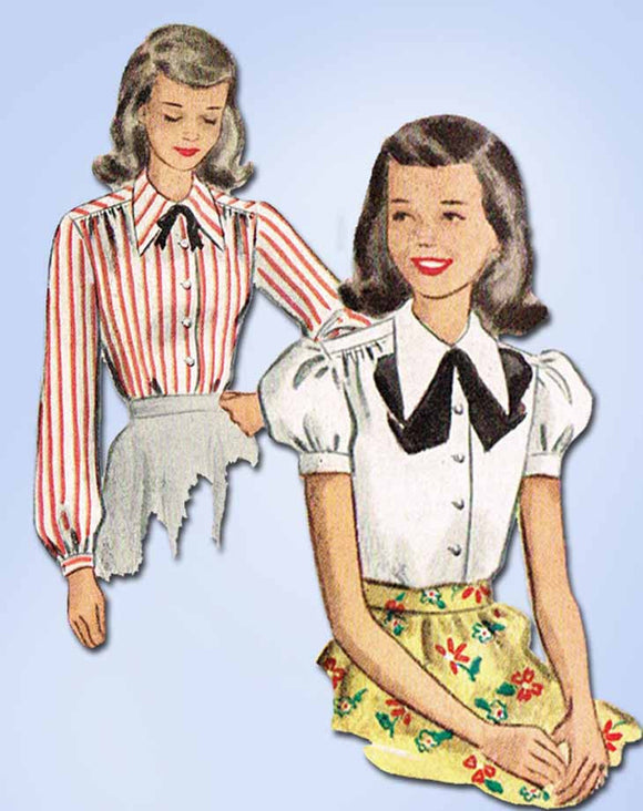 1940s Vintage McCall Sewing Pattern 7339 Uncut Girls Blouse Set Size 12 30 Bust