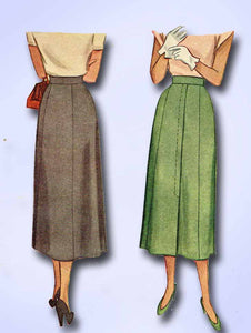 1940s Vintage McCall Sewing Pattern 7360 Classic Misses Day Skirt Size 26 Waist