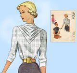 McCall 7365: 1940s Stunning Misses Blouse Size 32 Bust Vintage Sewing Pattern