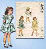 1940s Original Vintage McCall Sewing Pattern 7366 Toddler Girls Dress Size 4