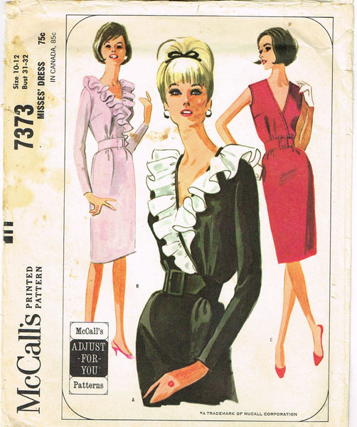 1960s Vintage McCalls Sewing Pattern 7373 Uncut Misses Ruffled Dress Size 31-32B