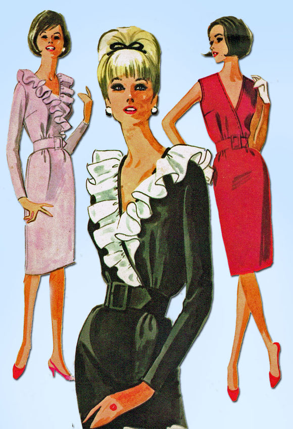 1960s Vintage McCalls Sewing Pattern 7373 Uncut Misses Ruffled Dress Size 31-32B - Vintage4me2