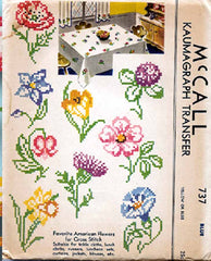 1930s Vintage McCall Embroidery Transfer 737 Uncut X Stitch Floral Table Cloth - Vintage4me2