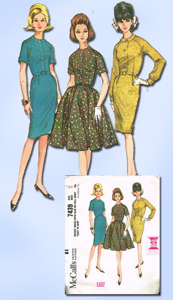 1960s Vintage McCalls Sewing Pattern 7439 Misses Shirtwaist Dress Easy Sz 12 32B