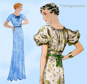 McCall 7466: 1930s Stunning Misses Evening Gown Sz 34 B Vintage Sewing Pattern