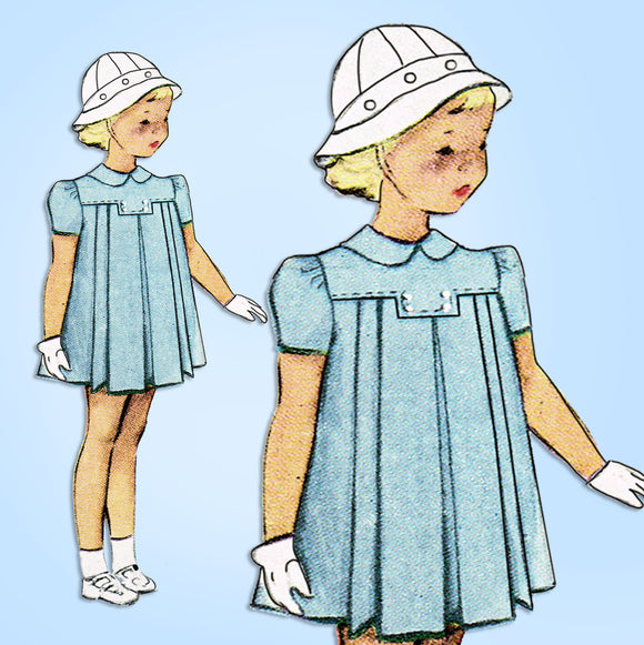 1940s Original Vintage McCall Sewing Pattern 7490 Baby Girls Pleated Dress Sz 2 - Vintage4me2