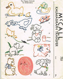 1940s Vintage McCalls Embroidery Transfer 751 Uncut 25 Baby Farm Animal Motifs