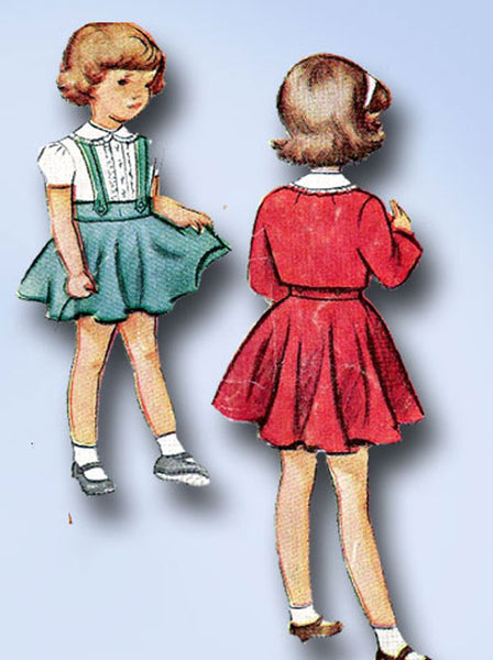 1940s Vintage Toddler Girls 3 Pc Suit 1948 McCall VTG Sewing Pattern 7521 Size 2