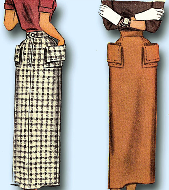 1940s Vintage McCall Sewing Pattern 7544 Misses Slender Skirt Cool Pockets 23 W