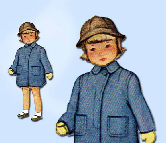 1940s Vintage McCall Sewing Pattern 7546 Toddler Boy or Girls Coat Size 6 24B