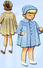 1940s Vintage McCalls Sewing Pattern 7547 Toddler Girls Swingback Coat Size 3