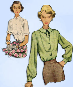 1940s Vintage McCall Sewing Pattern 7551 Misses Blouse w U Shaped Yoke Size 30 B