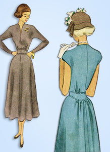 1940s Vintage McCall Sewing Pattern 7700 Uncut Misses Afternoon Dress Sz 31 Bust
