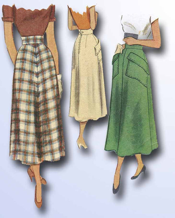 1940s Vintage McCalls Sewing Pattern 7711 Misses Bias Cut Day Skirt Sz 24 Waist