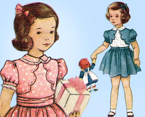 1940s Vintage McCall Sewing Pattern 7714 Cute Toddler Girls Party Dress Sz 6 - Vintage4me2