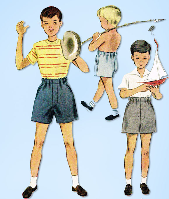1940s Vintage McCall Sewing Pattern 7745 Easy Uncut Toddler Boys Shorts Size 4