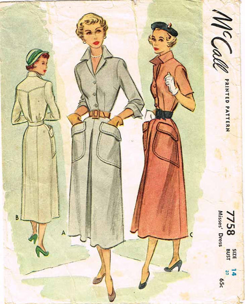 1940s Vintage Day Dress Pattern McCall Sewing Pattern 7758 Sz 32 B - Vintage4me2