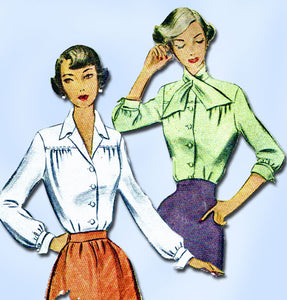 1940s Vintage McCalls Sewing Pattern 7838 Misses Blouse w Tie Collar 32 Bust