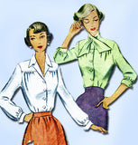 1940s Vintage McCalls Sewing Pattern 7838 Misses Blouse w Tie Collar 32 Bust - Vintage4me2
