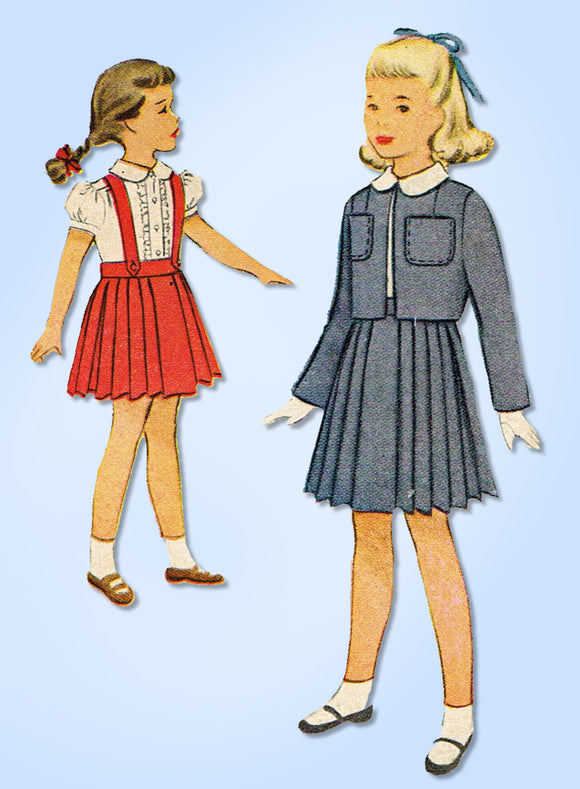 1940s Vintage McCall Sewing Pattern 7840 Uncut Toddler Girls Suit & Blouse Size 4