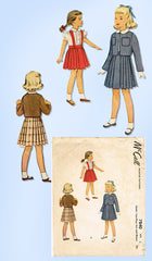 1940s Vintage McCall Sewing Pattern 7840 Toddler Girls Suit & Blouse Size 6