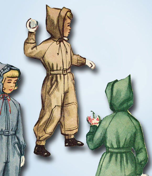 1940s Original Vintage McCall Sewing Pattern 7841 Uncut Toddlers Snowsuit Size 4 -Vintage4me2