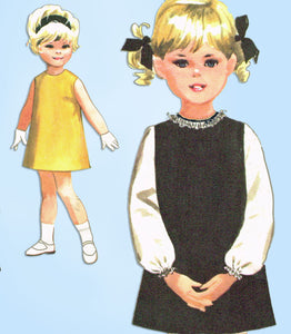 1960s Vintage McCall's Sewing Pattern 7860 Toddler Girls A Line Dress Size 3 - Vintage4me2