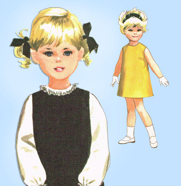 1960s Vintage McCall's Sewing Pattern 7860 Toddler Girls A Line Dress Size 4 - Vintage4me2