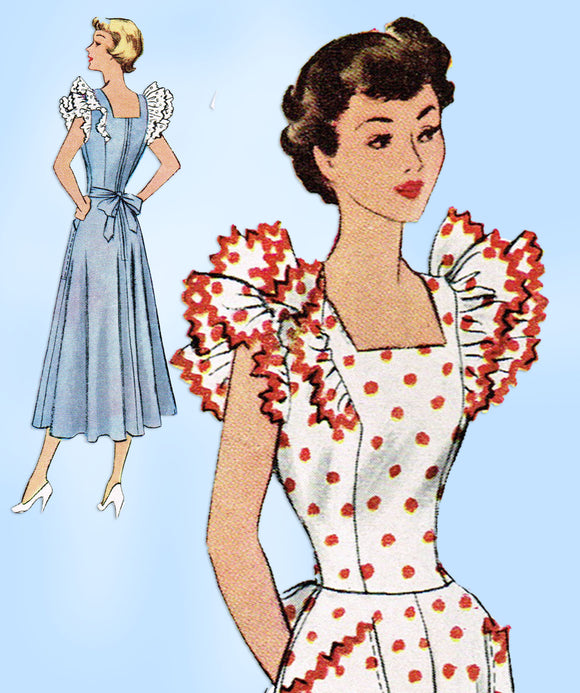 1940s Vintage McCall Sewing Pattern 7904 Stunning Misses Pinafore Dress Sz 34 B - Vintage4me2