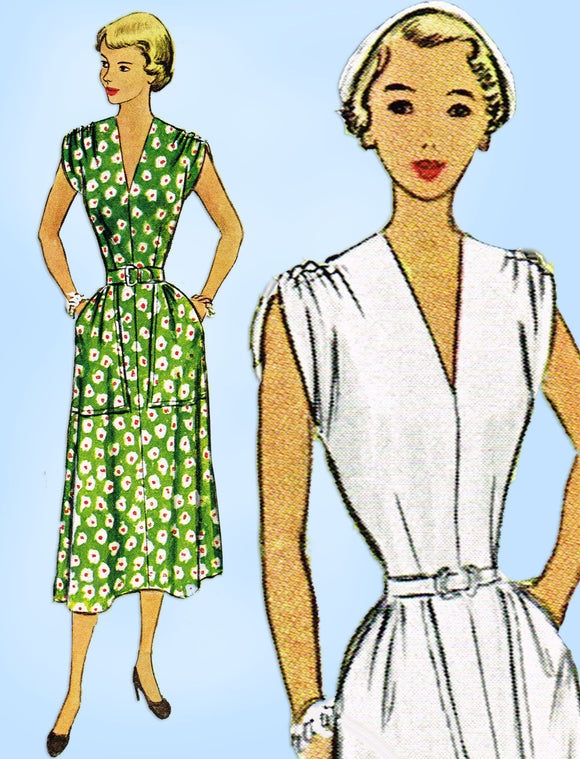 1940s Vintage McCall Sewing Pattern 7913 Junior Misses Dress Big Pockets Sz 33 B - Vintage4me2