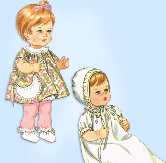 McCall's 7913: 1960s 15-18 Inch Baby Doll Clothes Set Vintage Sewing Pattern - Vintage4me2