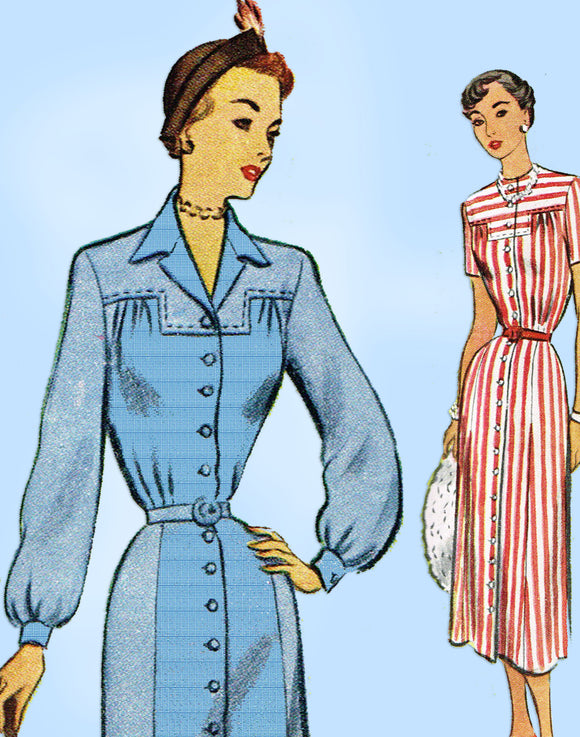 1940s Vintage McCall Sewing Pattern 7915 Charming Misses Street Dress Sz 38 Bust - Vintage4me2
