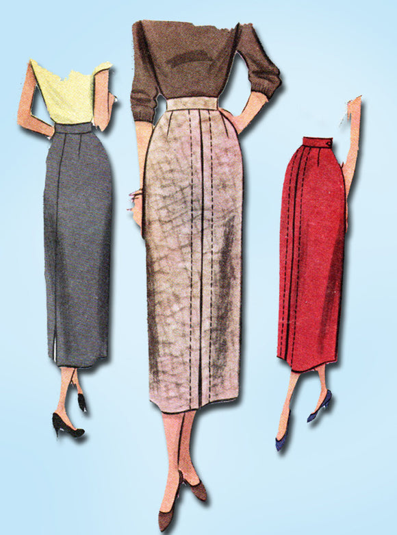 1940s Vintage McCall Sewing Pattern 7930 Uncut Misses Slender Skirt Size 26 W