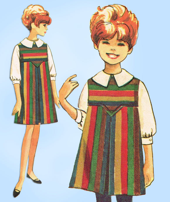 McCall 7937: 1960s Girls Helen Lee Jumper Dress Size 7 Vintage Sewing Pattern - Vintage4me2