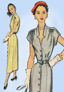 1950s Vintage McCall Sewing Pattern 7949 Misses Street Dress Size 16 34B