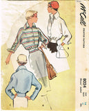 1950s Vintage 1950 McCall Sewing Pattern 8024 Misses Battle Jacket Size 14 32B