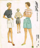 1950s Vintage McCall Sewing Pattern 8061 Misses Casual Shorts Size 28 Waist