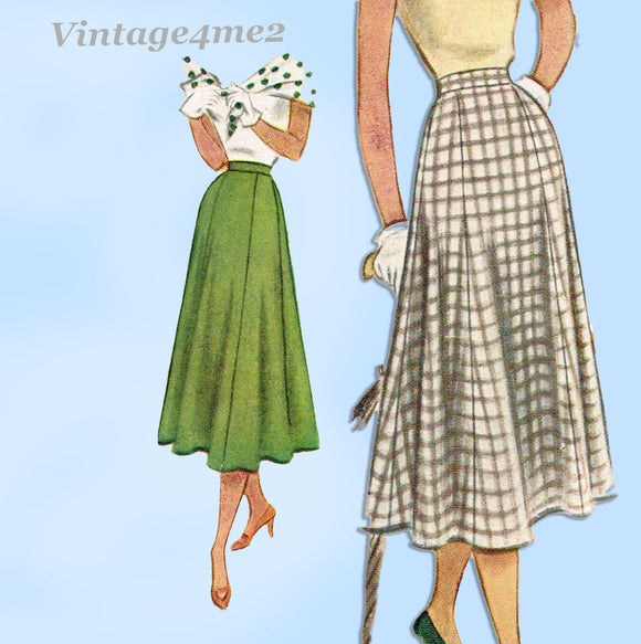 McCall's Pattern 8089: 1950s Easy Misses Skirt 28 W Vintage Sewing Pattern