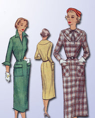 1950s Vintage McCall Sewing Pattern 8197 Misses Slender Day Dress Size 12 30B