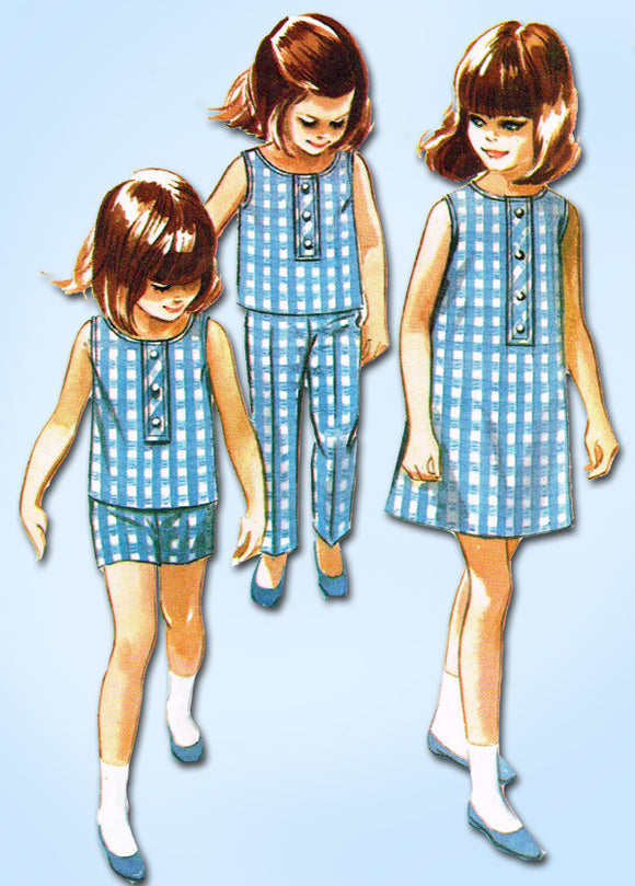 1960s Vintage McCalls Sewing Pattern 8242 Helen Lee Girls Playclothes & Dress