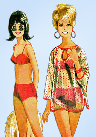 1960s Vintage McCalls Sewing Pattern 8285 Two Piece Bathing Suit & Cover Up 31 B