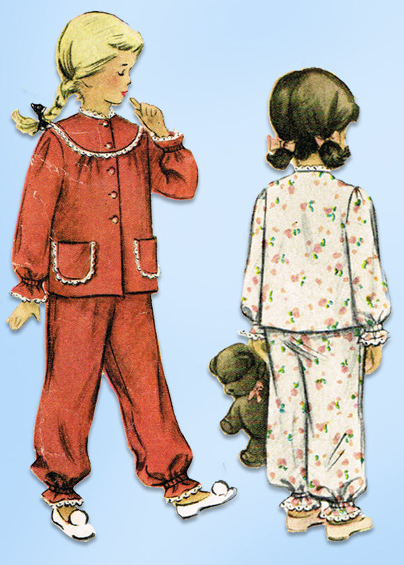 1950s Original Vintage McCall's Pattern 8306 Girls 2 Piece Pajamas Size 10
