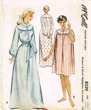 1950s Vintage McCalls Sewing Pattern 8339 Misses Nightgown Size Large 38 40 Bust