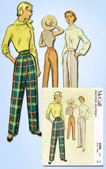 1950s Vintage McCall Sewing Pattern 8396 Misses Slacks or Trousers Sz 26 W