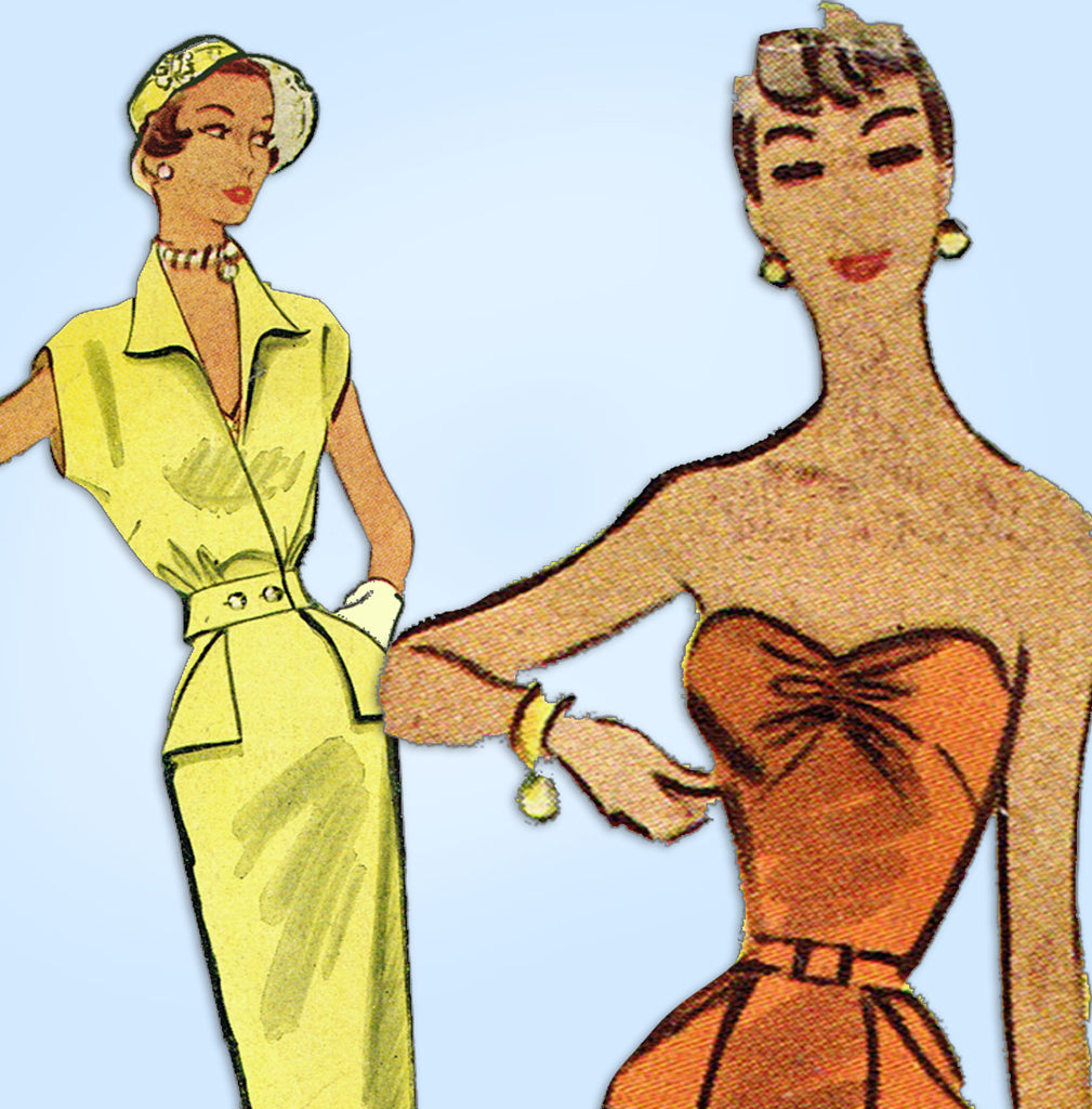 1950s Vintage McCall's Sewing Pattern 8421 Misses Sexy Dress & Jacket Size 34 B