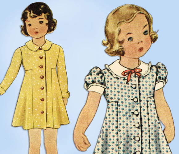 1930s VTG McCall Sewing Pattern 8446 Toddler Girls Modified Princess Dress Sz 6