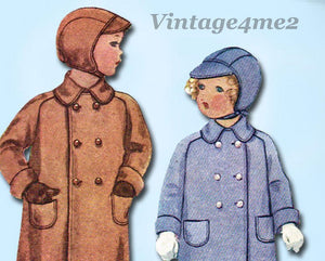 McCall 8529: 1930s Toddler Boys Coat & Cap Sz 2 Vintage Sewing Pattern