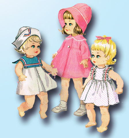 1960s Vintage McCalls Sewing Pattern 8564 Angel Baby 14-18 Inch Doll Clothes